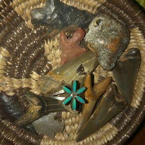 Zuni needlepoint turquoise ring.